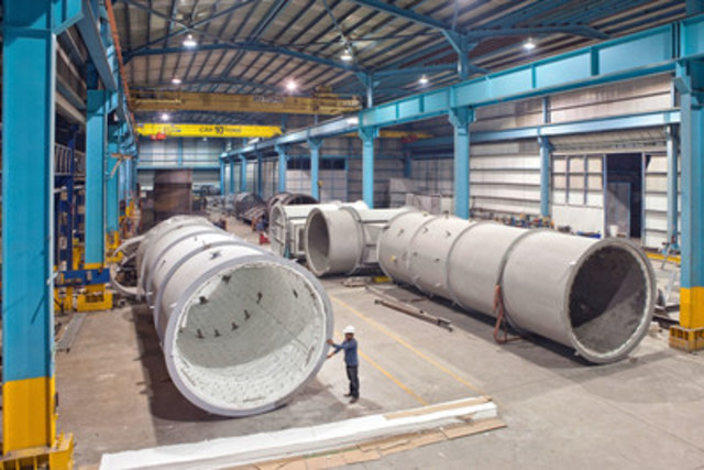 AEM Emissions Management fabricates noise suppression and air emissions control equipment, auxiliary power plant equipment, and oil & gas components in 90,000 square feet of its own plant space in Monterrey, Mexico.  Third party fabrication space up to 450,000 square feet throughout Mexico supplement AEM operations, including ASME shops for heat recovery steam generators and pressure vessel fabrication. (CNW Group/ATCO Emissions Management)