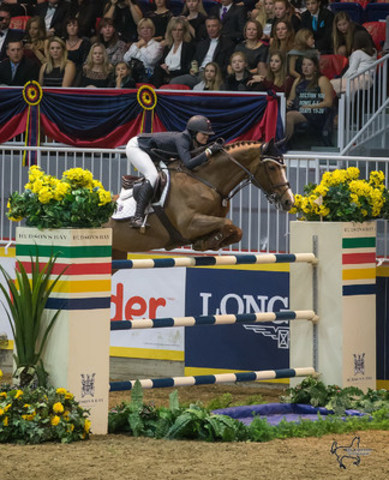 21-year-old Reed Kessler of the United States placed second riding Cylana in the $75,000 Big Ben Challenge, presented by Hudson's Bay Company. (CNW Group/Royal Agricultural Winter Fair)