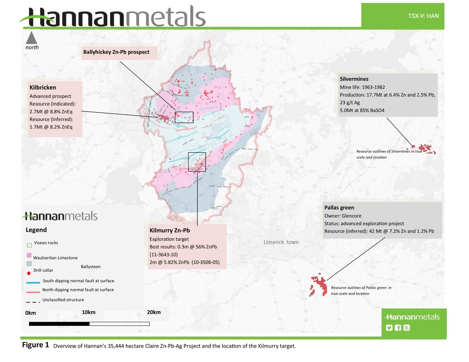 Figure 1 - Overview of Hannan's 35,444 hectare Claire Zn-Pb-Ag Project and the location of the Kilmurry target.