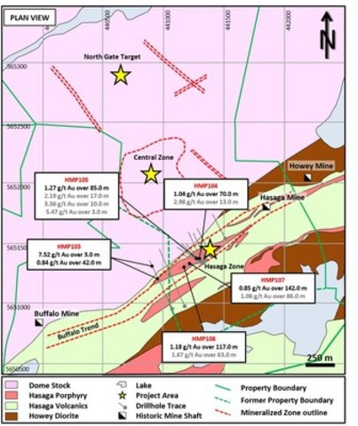 Figure 1: Plan view of primary drill target areas at Hasaga. Highlights in grey are included. (CNW Group/Premier Gold Mines Limited)
