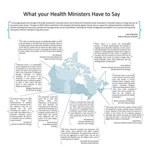 What your health ministers have to say about colorectal cancer (CNW Group/Colorectal Cancer Association of Canada)