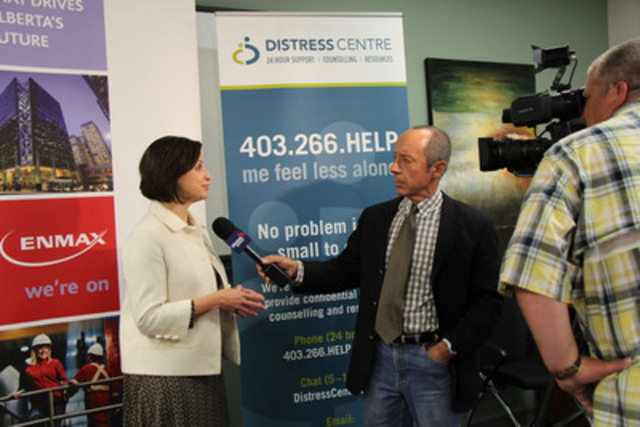 Gianna Manes, President and CEO, ENMAX Corporation, speaks with Global Television Calgary about ENMAX's efforts to help flood-affected and vulnerable Albertans. (CNW Group/ENMAX Corporation)