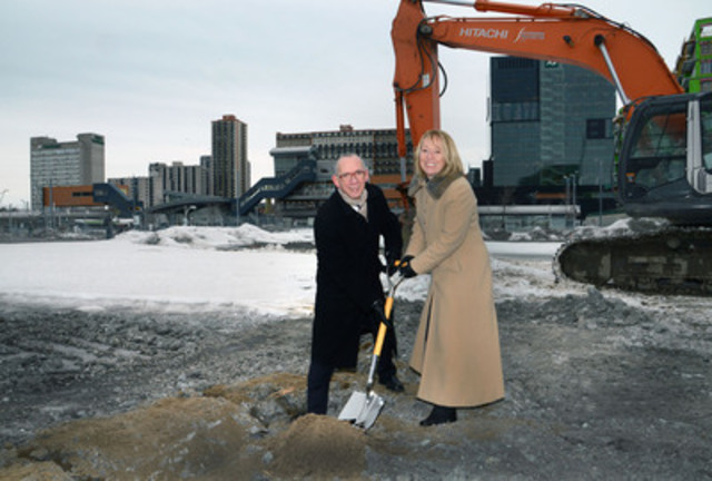SSQ Financial Group's Chief Executive Officer René Hamel accompanied by Longueuil Mayor Caroline St-Hilaire officially broke ground to mark the start of the construction of SSQ Tower. (CNW Group/SSQ FINANCIAL GROUP)