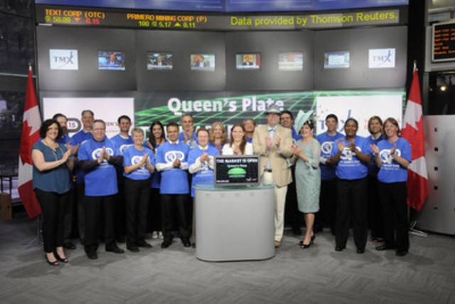 Emma-Jane Wilson, Jockey, Woodbine Racetrack joined Suzanne Peters, Director, Business Communications & Strategic Programs, TMX Group to open the market to celebrate the 156th running of the Queen's Plate on Sunday, July 5th at Woodbine Racetrack. The Queen's Plate is the first jewel in Canada's Triple Crown of Thoroughbred Racing, followed by the Prince of Wales Stakes and the Breeders' Stakes. The Queen's Plate is the oldest continuously run race in North America, with a running distance of 1 ¼ miles with a maximum of 17 thoroughbred horses foaled in Canada. For more information please visit  www.queensplate.com (CNW Group/TMX Group Limited)