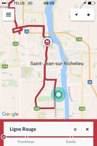 ZenBus Saint-Jean-sur-Richelieu. Parcours en temps réel - Ligne rouge. Le pictogramme rouge est la position de l'autobus et le pictogramme vert est la position de l'usager. (Groupe CNW/VILLE DE ST-JEAN-SUR-RICHELIEU)
