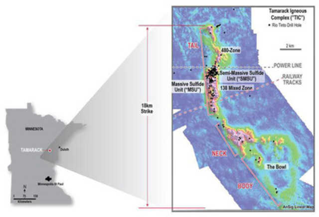 Figure 1: Aeromagnetic survey showing the 18km long strike of the TIC with the long narrow intrusion that hosts  ...