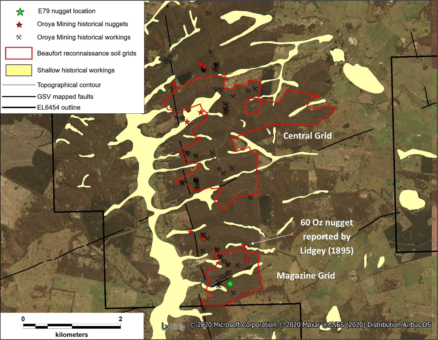 Figure 4 – Locations of historical gold nugget finds in the vicinity of the Central and Magazine Grids (Modified from Oroya Mining Limited, 2011). The correlation of these large nuggets with E79's target areas provides significant encouragement to the Company, especially as previous explorers had tentatively defined similar trends and priority areas. (CNW Group/E79 Resources Corp.)
