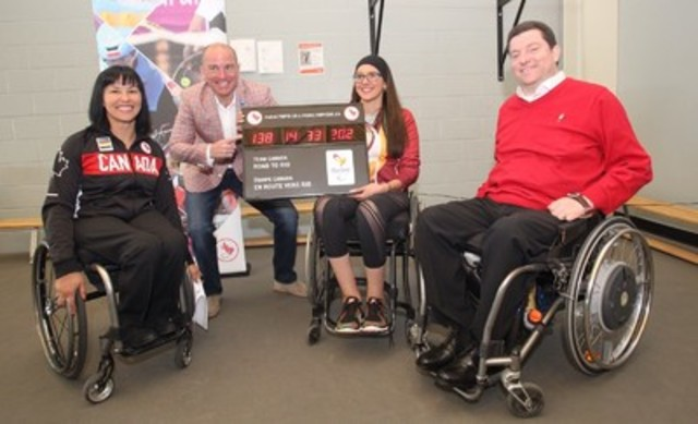 Photo: Canadian Paralympic Committee Caption: Halifax, April 21, 2016 - Rio 2016 Chef de Mission Chantal Petitclerc and local Rio 2016 hopeful in para-athletics Pamela LeJean presented a countdown clock to Halifax deputy Mayor Matt Whitman and the Honorable Kevin Murphy, Speaker of the Nova Scotia Legislature, at an event at the Canada Games Centre this morning to celebrate local athletes and coaches training for the Rio 2016 Paralympic Games. (CNW Group/Canadian Paralympic Committee (CPC))