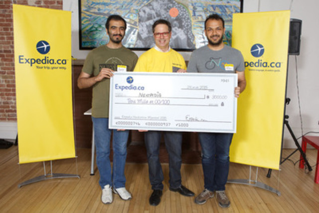 Expedia Montreal Hackathon 2015 hosted by Expedia.ca. The winning team, Nextpedia, was awarded the Grand Prize of $3000. From left to right: Amir Saboury, winner; Philippe Deschênes, Director of Technology, Expedia (Montreal); Afshin Moazami, winner. (Photo Credit: Michel Pinault) (CNW Group/EXPEDIA.CA)
