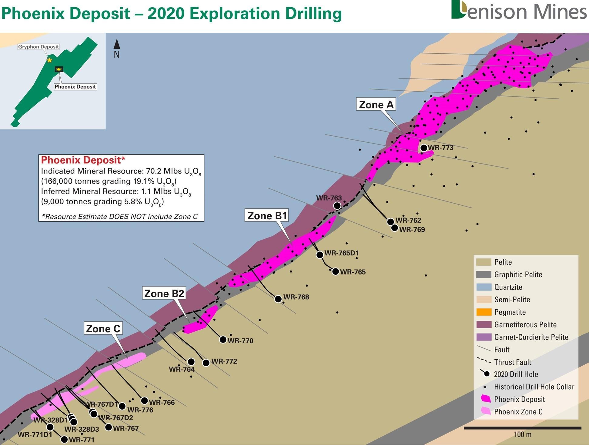 Figure 1 - Phoenix Deposit – 2020 Exploration Drilling (CNW Group/Denison Mines Corp.)