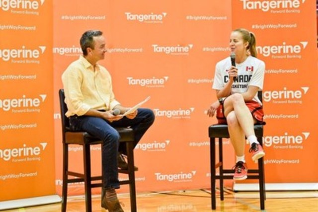 Tangerine Chief Operating Officer, Ian Cunningham, and former Canada Basketball player Janelle Bekkering talk about the positive impacts of sport at Tangerine's first Community Gym in Calgary today. (CNW Group/Tangerine)