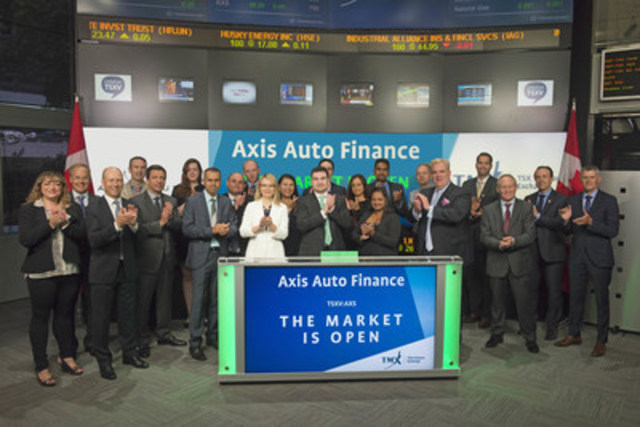 Ilja Troitschanski, CEO & President, Axis Auto Finance Inc. (AXS),  joined Tim Babcock, Director, Listed Issuer Services, TSX Venture Exchange to open the market on Tuesday, August 16, 2016. Axis provides non-standard automobile financing, through independent and franchise dealers, to Canadians that do not qualify for traditional bank financing. Axis Auto Finance Inc. commenced trading on TSX Venture Exchange on August 4, 2016. For more information, please visit www.axisautofinance.ca. (CNW Group/TMX Group Limited)