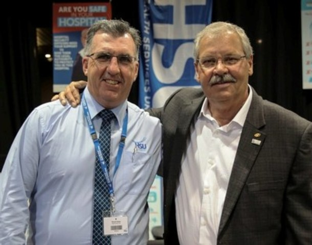 HSU Secretary Gerard Hayes with OPSEU President Warren (Smokey) Thomas (CNW Group/Ontario Public Service Employees Union (OPSEU))