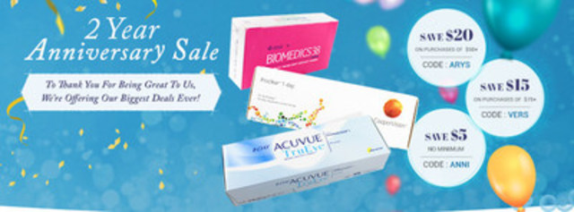 Anniversary sale for PerfectLens.ca slashes prices and offers free shipping options. (CNW Group/PerfectLens.ca)