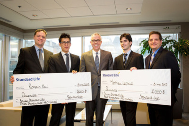 Nicolas Sirois, Investment Risk at Standard Life and head of the Standard Life-HEC Montréal Fund supervisory committee; Romain Bui, student; Roger Renaud, President of Standard Life Investments Inc.; Mathieu Leclerc, student; Martin Boyer, Finance professor at HEC Montréal and head of the Fund management committee. (CNW Group/STANDARD LIFE)