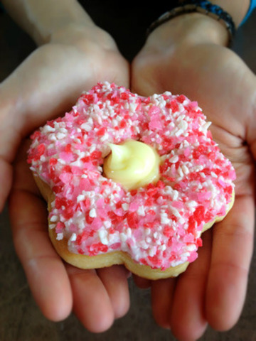 100 per cent of the sales from Tim Hortons Alberta Rose donut will go to support Red Cross flood relief efforts  ...