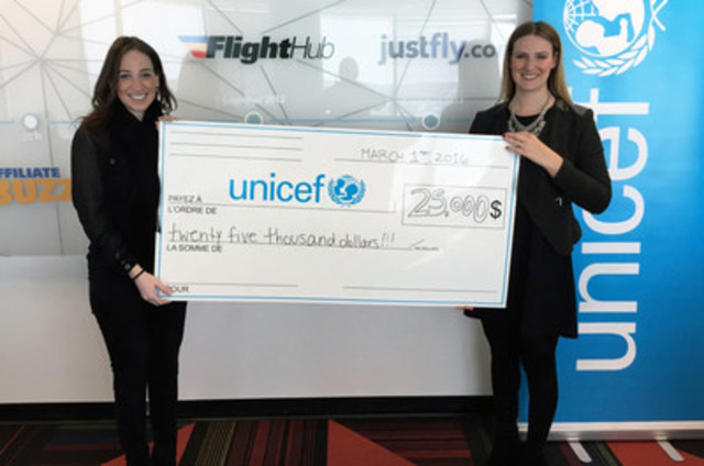 Momentum Ventures, parent company of FlightHub and JustFly, donates $25,000 to Unicef Canada. (CNW Group/Momentum Ventures)
