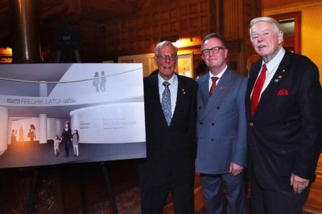 De gauche à droite : M. Fredrik Eaton, M. Mark O'Neill, président-directeur général du Musée canadien de l'histoire, ainsi que M. James D. Fleck, Ph. D., C.C., président par intérim du conseil d'administration. (Groupe CNW/Musée canadien de l'histoire)