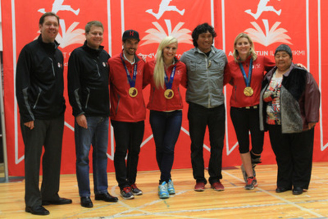 Today, Canadian Olympic gold medalists Hayley Wickenheiser, Kaillie Humphries and Charles Hamelin, as well as Arctic Winter Games medalist Johnny Issaluk, joined TSN sportscaster Gord Miller, Canadian Tire President Michael Medline, and The Honourable Monica Ell, Deputy Premier of Nunavut, to inspire Iqaluit children to be more physically active. (CNW Group/ACTIVE AT SCHOOL)