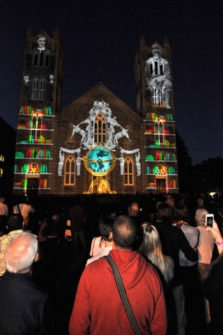 More than 400 people attended the launch of the stunning video projection on the facade of Église ...