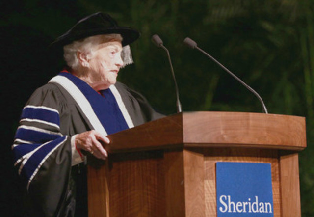Hazel McCallion delivers her Installation Address at the Living Arts Centre (CNW Group/Sheridan College)
