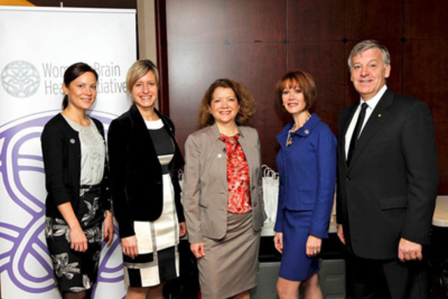 Pictured from left to right are: Marie-Eve Rioux, Tax Manager, Deloitte, Geneviève Provost, Partner - Business Tax Deloitte, Dr. Sylvie Belleville, Ph.D. in neuropsychology and Professor at the Université de Montréal, Lynn Posluns Founder and President, Women's Brain Health Initiative, Alain Côté Managing Partner Quebec Region, Deloitte. (CNW Group/Women's Brain Health Initiative (WBHI))