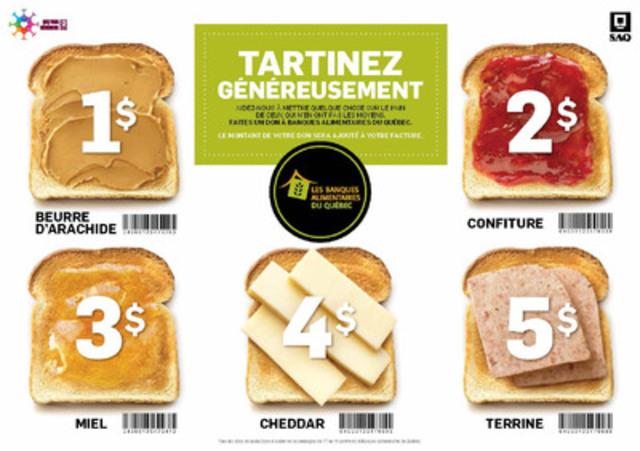 Les clients seront invités à tartiner « généreusement » un toast symbolique lors de leur passage à la caisse. (Groupe CNW/Société des alcools du Québec - SAQ)