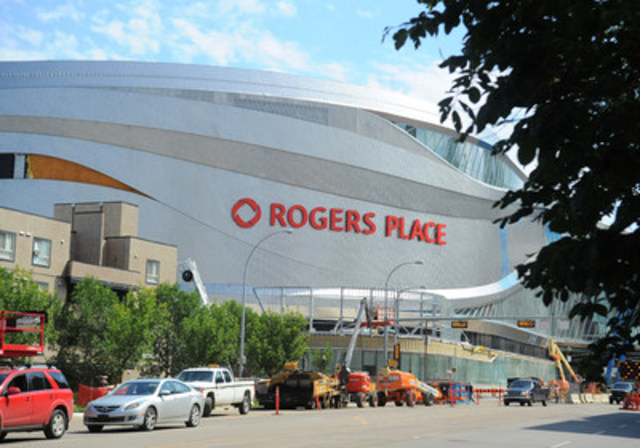 Official photo of the first exterior sign at Rogers Place, opening this fall in downtown Edmonton. (CNW ...