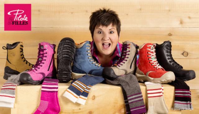 Marie-Lise Pilote qui nous présente sa nouvelle collection de bottes de travail pour femme. Crédit photo& : Josianne Borgia (Groupe CNW/Pilote et Filles)