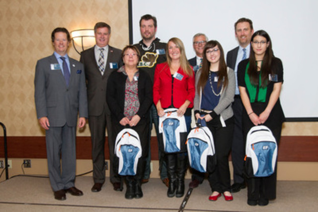 EF Educational Tours' Victory in Europe 70th Tour Launch: EF VP Greg Owen, MP Lawrence Toet, MSSTA President Marie Zorniack, Teachers John Thompson and Kara Wickstrom-Street, Kingdom of the Netherlands Honorary Consul Bob Krul, student speakers Chelsea Guindon and Lindsay McKay, EF President David Conklin (Photo By: Carey Tarr/EF Educational Tours) (CNW Group/EF Educational Tours)
