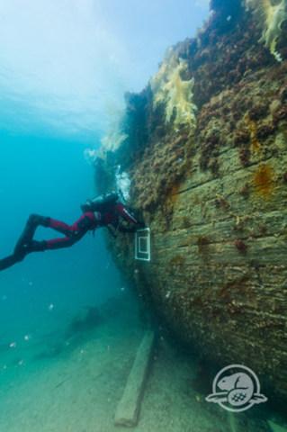 La mission Erebus et Terror 2015 a permis aux archéologues de Parcs Canada de ramener divers artéfacts en plus de cartographier l'épave. Ici un archéologue subaquatique inspecte la coque du HMS Erebus qui repose à environ 11 mètres de fond. (Photo: Parcs Canada) (Groupe CNW/Parcs Canada)
