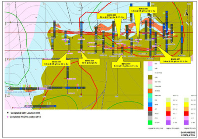 Figure 12: Plan showing location of key assay results from drilling at Bayramdere in 2014 (CNW Group/Alacer Gold Corp.)