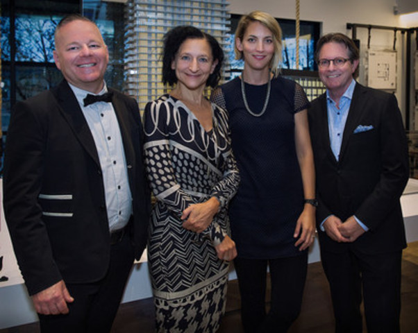 Left to right:  Tim Jones, Artscape CEO; Dr. Sara Diamond, OCAD University President; Rebecca Carbin, Waterfront Toronto Public Art Program Manager; and Tom Dutton, The Daniels Corporation Senior Vice-President. (Photo credit: Linda M. Stella) (CNW Group/Daniels Corporation)