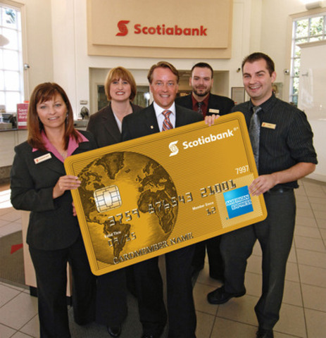 Just landed! Scotiabank employees at the Coburg & Robie branch in Halifax, Nova Scotia celebrate the arrival of the new Scotiabank American Express® Cards - a suite of loyalty cards designed for travel enthusiasts. (CNW Group/Scotiabank - Products & Services)