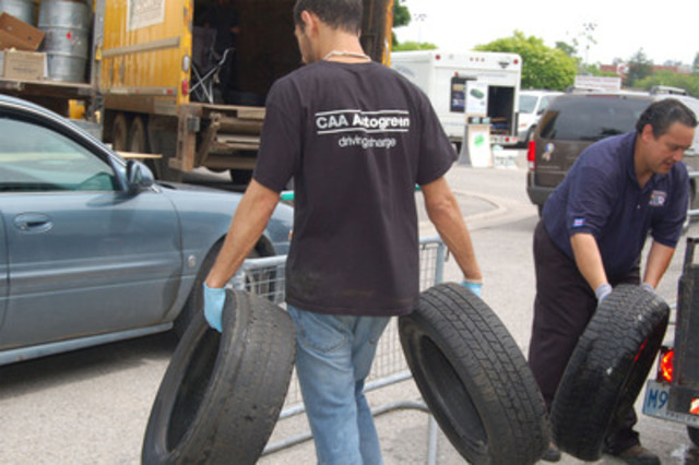 CAA SCO and OTS collecting batteries, tires and motor oil during 2011 RecycleDrive. (CNW Group/CAA South Central Ontario)