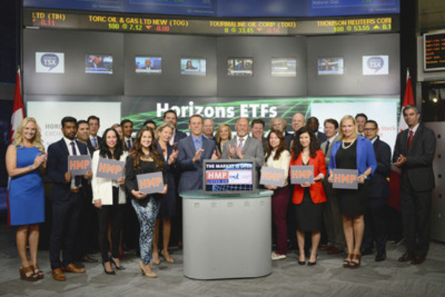 Steven Hawkins, Co-CEO, Horizons ETFs joined Amelia Nedovich, Head, Business Development, Exchange Traded Funds (ETF) and Structured Products, TMX Group to open the market to launch Horizons Active Cdn Municipal Bond ETF (HMP/HMP.A) Horizons ETFs is a financial services company and a subsidiary of the Mirae Asset Financial Group. As of June 30 , 2015, Horizons ETFs currently has 67 ETFs listed on Toronto Stock Exchange with a market value of more than $4.6 Billion. Horizons Active Cdn Municipal Bond ETF (HMP/HMP.A) commenced trading on Toronto Stock Exchange on August 13, 2015. (CNW Group/TMX Group Limited)