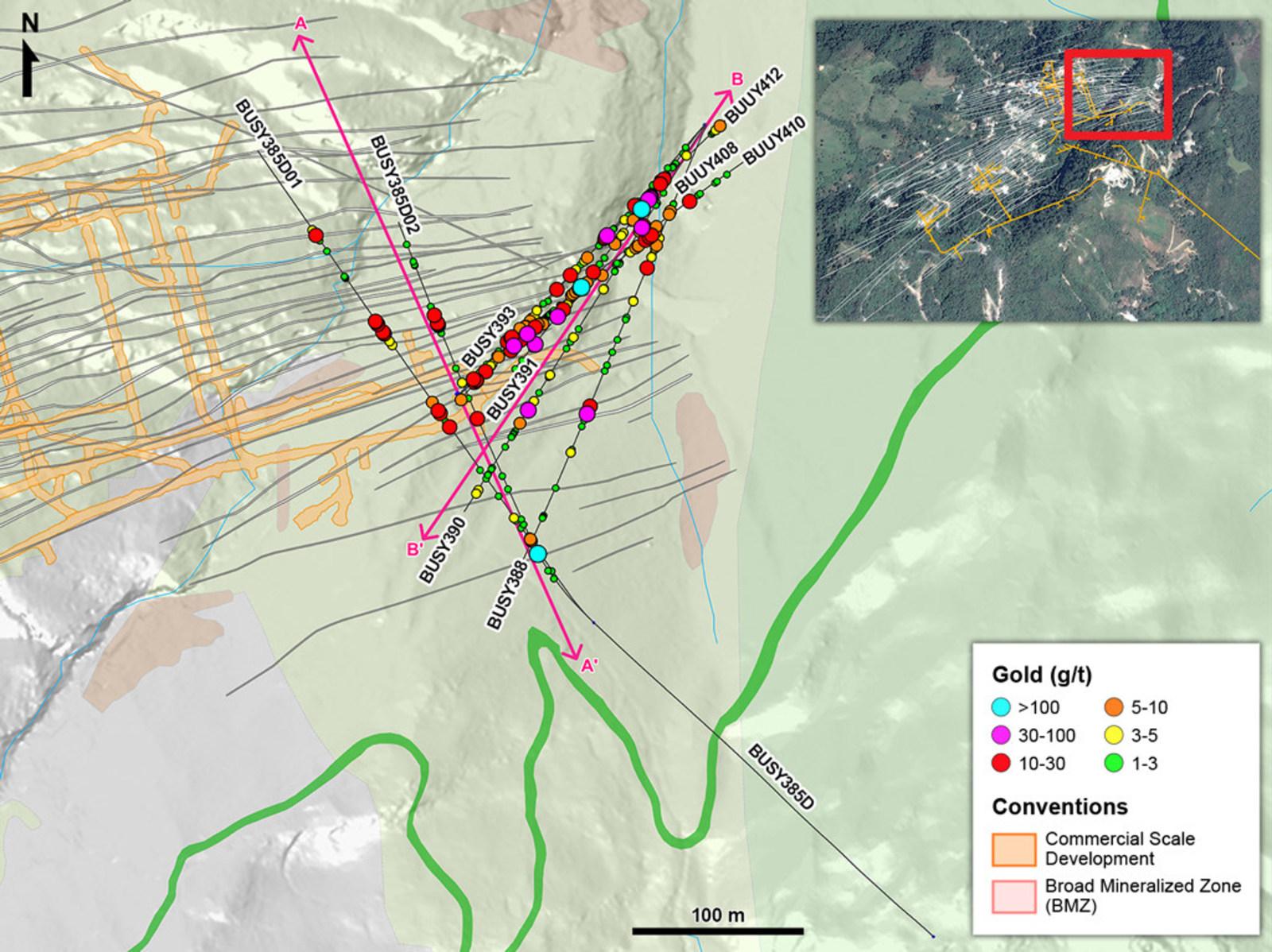 Figure 1 – Plan View of Drilling in Eastern Yaraguá vein system