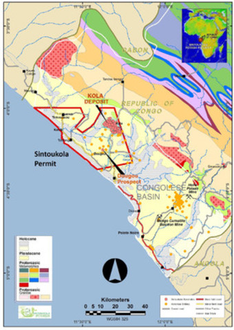 Figure 1. Geological map of the RoC coastal basin, showing the Sintoukola Permit and the Kola Deposit and Dougou Prospect. Elemental and historic boreholes are shown. (CNW Group/Elemental Minerals Limited)