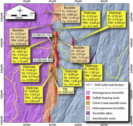 Figure 1. Bedrock geology, geochemical sample, and drill hole location map. (CNW Group/Duluth Metals Limited)