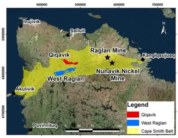 Figure 4 – Localisation de la propriété Qiqavik dans la ceinture de Cape Smith, Nord-du-Québec (Groupe CNW/RNC Minerals)