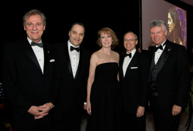 Pierre Lafrenière, SCC, Quebec Division Board Chair; Frank Vettese, Managing Partner and CEO of Deloitte in Canada and co-chair of the Ball; Pamela Fralick, National President and CEO of the Canadian Cancer Society; Robert G. Card, President and CEO of SNC-Lavalin and Charles Sirois, Chairman of the Board at CIBC, also co-chairs of the Ball. (CNW Group/Canadian Cancer Society, Quebec Division)