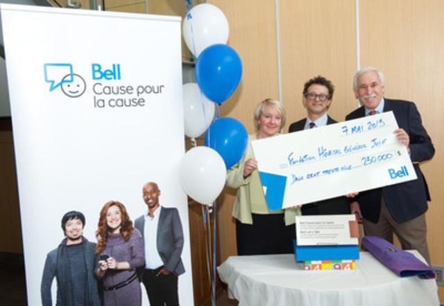 Bell fait un don de 230 000 $ pour soutenir le programme de soins de transition en santé mentale pédiatrique de l'Hôpital général juif. Martine Turcotte, vice-présidente exécutive, Québec, Bell, Rick Seifeddine, premier vice-président de la marque, Bell et Allen Rubin, président du conseil d'administration de la Fondation de l'HGJ. (Groupe CNW/Bell Canada)