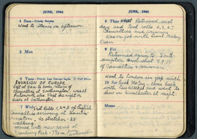 Journal du sergent McCaughey, MCG 20140022-001, Collection d'archives George-Metcalf, Musée canadien de la guerre. (Groupe CNW/Musée canadien de l'histoire)