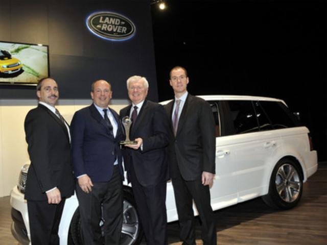 Larry Dominique, Executive Vice President, Data Solutions, ALG (left) and Geoff Helby, Canada Regional Director, ALG (right) presented the 2012 Residual Value Award in the Best Luxury Midsize Utility Vehicle category to Frank Klaas, Global Head of Communications, Jaguar Land Rover and Lindsay Duffield, President, Jaguar Land Rover Canada - at the Canadian International Auto Show on Thursday February 16, 2012, in Toronto. (CNW Group/Jaguar Land Rover North America, LLC)