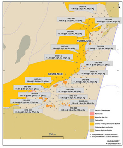 Figure 2: Plan Showing Dursunbey Drill Hole Location and Geology Compilation 2014 (CNW Group/Alacer Gold Corp.)