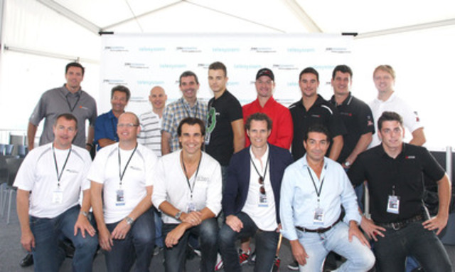 The TRIOOMPH Foundation held a benefit event, attended by a group of professional racecar drivers, at the Circuit Gilles-Villeneuve today. Standing, l. to r.: Patrice Brisebois, Richard Spénard, Jacques Villeneuve, Bertrand Godin, Gianmarco Raimondo, Marc-André Bergeron, Andrew Ranger, Enzo Potolcchio and Ryan Dalziel. Also on hand were the Foundation's mentors and semi-pro drivers - front, l. to r.: Steve Girardin, Mathio Pellerin, Roger Duguay, Francois-Charles Sirois, Carlos Ferreira and Elie Arsenault. (CNW Group/TRIOOMPH Foundation)