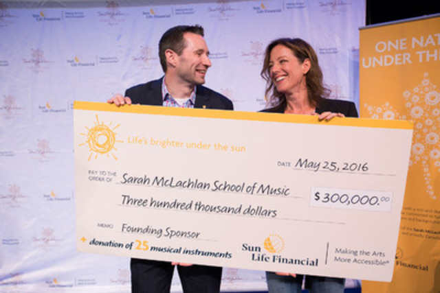 Paul Joliat from Sun Life Financial and Sarah McLachlan launch the Sarah McLachlan School of Music in Edmonton, AB. (CNW Group/Sun Life Financial Canada)