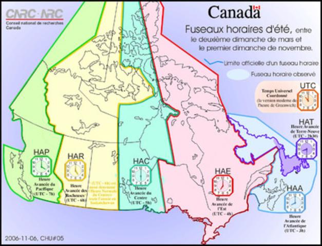 Fuseaux horaires d'été (Groupe CNW/Conseil national de recherches Canada)