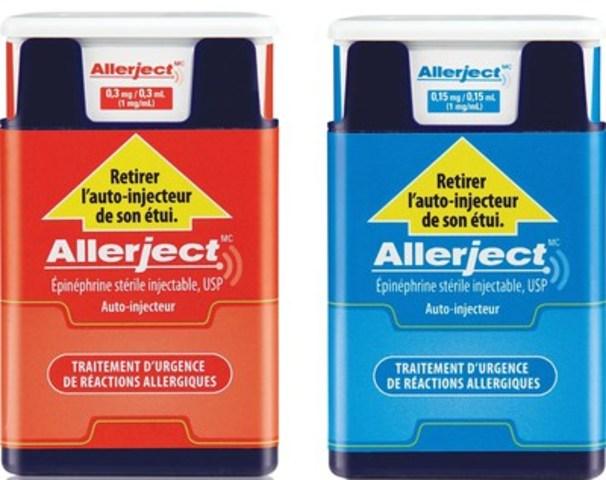 Étiquette principale des deux produits touchés. L'étiquette du produit à 0,15 mg/0,15 ml est bleu et celle du produit à 0,3 mg/0,3 ml est rouge (Groupe CNW/Sanofi Canada)