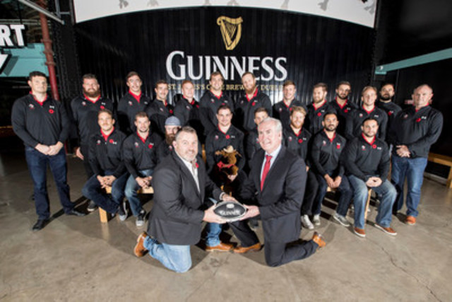 9/11/2016 GUINNESS hosted Rugby Canada at the St. James's Gate Brewery in Dublin, Ireland, ahead of the 2016 GUINNESS Series Opening Test Match. Canada's senior national men's rugby team are pictured with former Canadian international rugby player and Rugby Canada Director, Gareth Rees and Canadian Ambassador to Ireland, Kevin Vickers. (Photo Credit: Andres Poveda) (CNW Group/Diageo Canada)